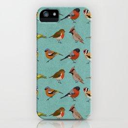 British Garden Birds - Blue iPhone Case