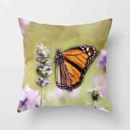 A Monarch and her Lavender Throw Pillow