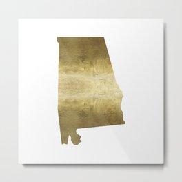 alabama gold foil state map Metal Print