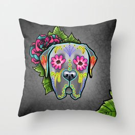 Mastiff in Grey - Day of the Dead Sugar Skull Dog Throw Pillow