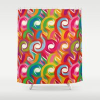 ikat Shower Curtains featuring Ikat by Helene Michau