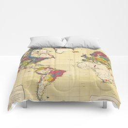 Vintage Geological Map of The World (1875) Comforters