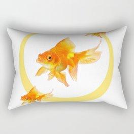 3 GOLDFISH SWIMMING PATTERN MODERN ART Rectangular Pillow