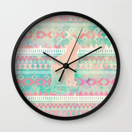 Whimsical Cat, Pink Turquoise Girly Aztec Pattern Wall Clock