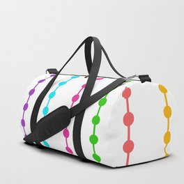 Geometric Droplets Pattern - Rainbow Colors on White Duffle Bag