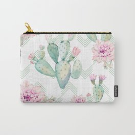 Cactus Chevron Southwestern Watercolor Carry-All Pouch