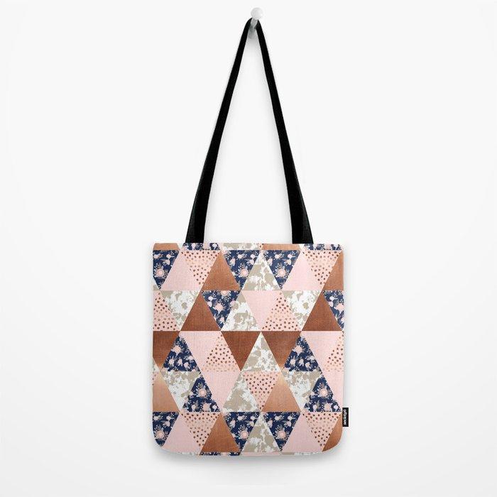 Floral bouquet pastel navy pink florals painted quilt metallic pattern basic minimal quilt pattern Tote Bag