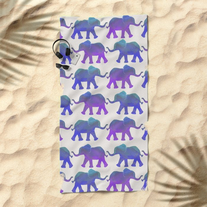 Follow The Leader - Painted Elephants in Royal Blue, Purple, & Mint Beach Towel