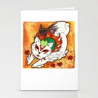 okami Stationery Cards featuring Amaterasu from Okami 03 by Jazmine Phillips