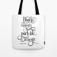 "stephen king Tote Bags featuring ""Books are a uniquely portable magic."" - Stephen King by Ketina"