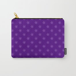 Lavender Violet on Indigo Violet Snowflakes Carry-All Pouch