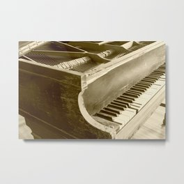Wooden Piano Metal Print