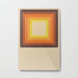Retro 70s Style Square Mid Century Modern Art Abstract Geometric Metal Print