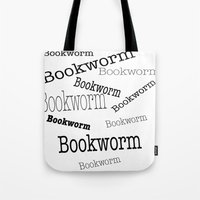 bookworm Tote Bags featuring Bookworm by ImagineMillions