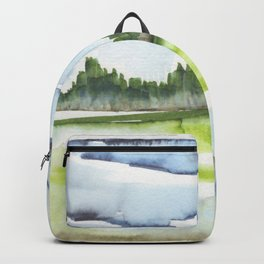 In the Mountains: moody, painterly watercolor landscape Backpack