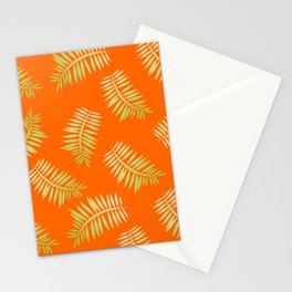 Palm Leaf Pattern on Orange Stationery Cards