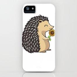 Hedgehog Hold Sunflower iPhone Case