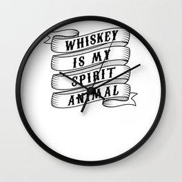 Whiskey Is My Spirit Animal Whiskey Drinker Single Malt Bourbon Wall Clock