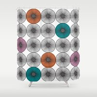scandinavian Shower Curtains featuring Scandinavian Abstract Floral by She's That Wallflower
