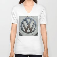 vw bus V-neck T-shirts featuring Rusty VW Bus Symbol by wildVWflower