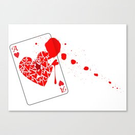 Ace of Hearts With Blood Canvas Print