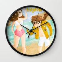 moonrise kingdom Wall Clocks featuring Moonrise Kingdom by Irena Freitas