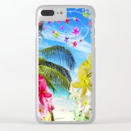 Tropical Beach and Exotic Plumeria Flowers Clear iPhone Case