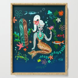 Blonde Leopard Martini Mermaid Serving Tray