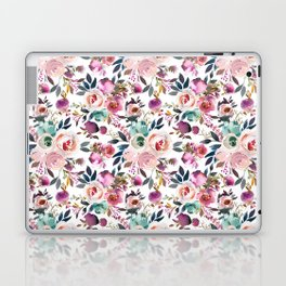 Hand painted blush pink purple watercolor floral Laptop & iPad Skin