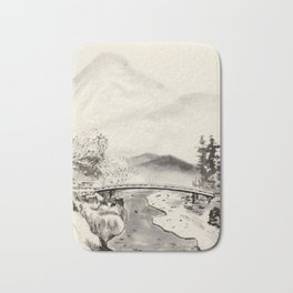 Chinese Ink and Brush Painting of Trees and Mountains Bath Mat