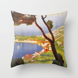 Ischia Island Italy summer travel ad Throw Pillow