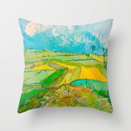 Wheat Fields after the Rain (The Plain of Auvers), July 1890 Oil Painting by Vincent van Gogh Throw Pillow