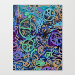 Welcome To The Machine Blue Canvas Print
