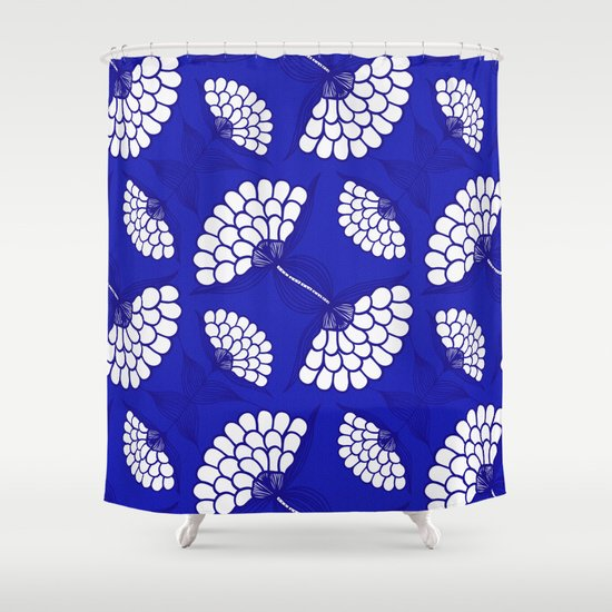 African Floral Motif On Royal Blue Shower Curtain By Wellingtonboot
