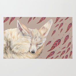 Fennec Fox Feather Dreams in Taupe Rug