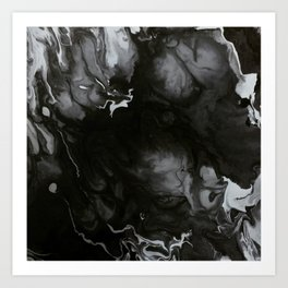 Black and white fluid painting Art Print
