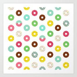 Donuts Seamless Pattern Art Print
