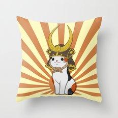 Japanese Bobtail Cat Wears Samurai Hat Throw Pillow