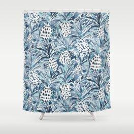 TROPICAL SITCH Indigo Aqua Pineapple Shower Curtain