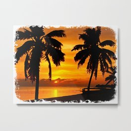 Sunset painting with intricate border Metal Print