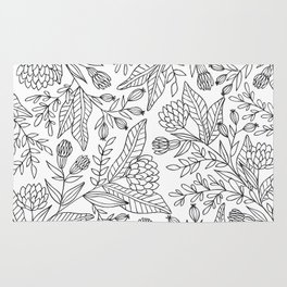 Wildflower Pattern - Black and White Rug