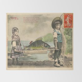 The April Fish - Vintage / Antique French Post Card - Piosson D'Avril - April Fools Day Throw Blanket
