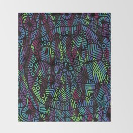 Purple and Green Doodle 14 Throw Blanket