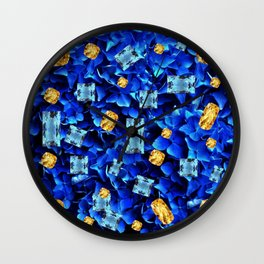 SEPTEMBER BLUE & CHAMPAGNE TOPAZ GEMS BIRTHSTONE ART Wall Clock