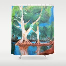 Riverbank Trees Shower Curtain
