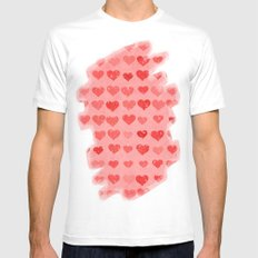 Pink Valentines Love Hearts White Mens Fitted Tee MEDIUM