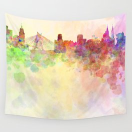 Sao Paulo skyline in watercolor background Wall Tapestry