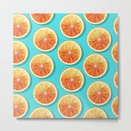 Orange Slices on Blue Metal Print