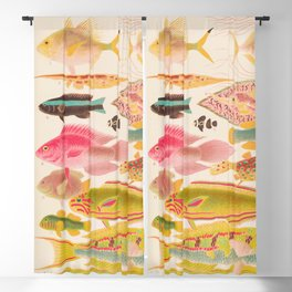 Colorful Tropical Fishes Vintage Sea Life Illustration Blackout Curtain