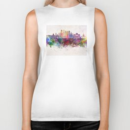 Buenos Aires V2 skyline in watercolor background Biker Tank